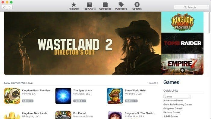 Mac App Store mac games downloads