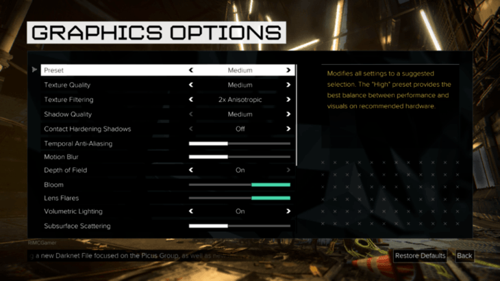 Deus Ex Mankind Divided settings