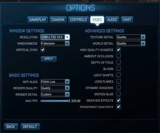 Rocket League lower settings for 2012 MBP