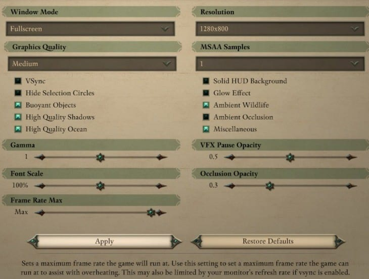 Pillars of Eternity 2 benchmark settings V2