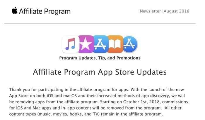 Apple affiliate change