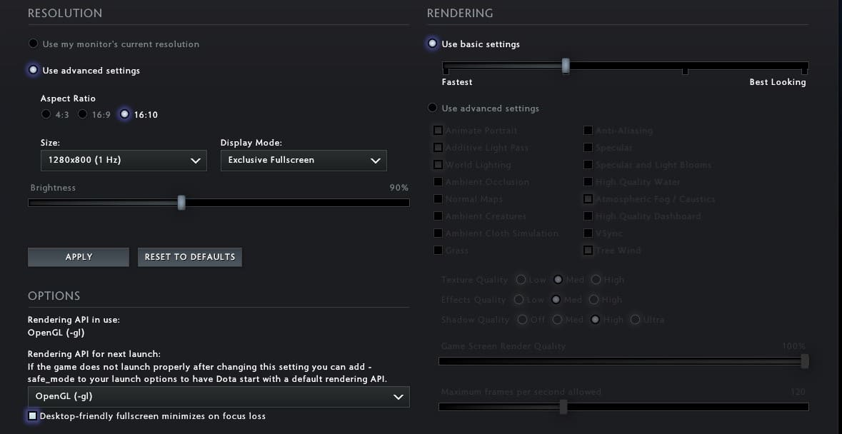 Dota 2 Mac settings