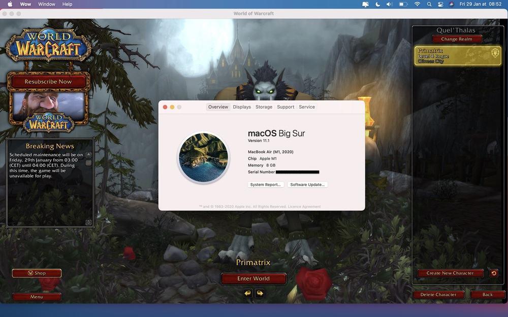 World of Warcraft on M1 Mac