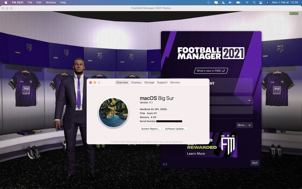 Football Manager 2021 on Mac M1