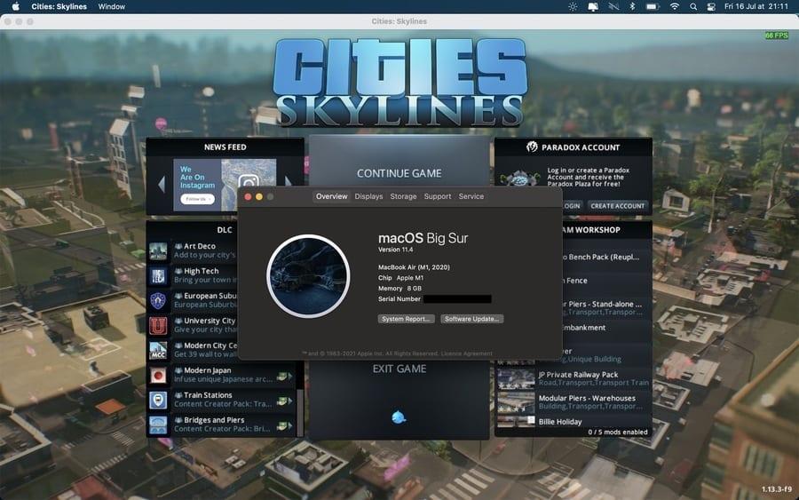 Cities Skylines running on M1 Mac